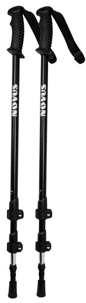 Треккинговые палки Novus NTP-01, 18/16/14 мм, размер 65-135 см, черные