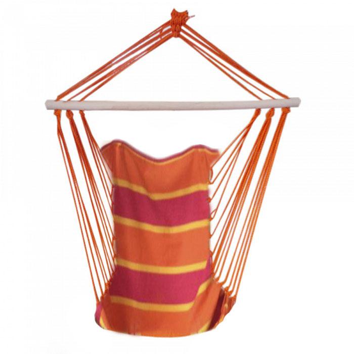 Гамак-кресло с деревянными перекладинами (оранжевый/красный)
