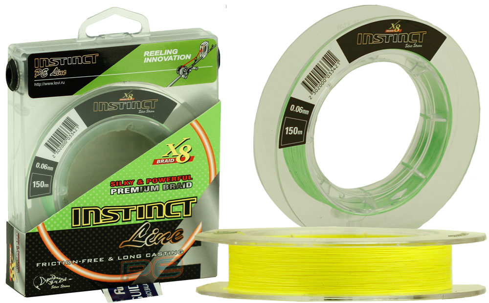 Плетеная леска INSTINCT Line 150 (0,24) жёлтый флю