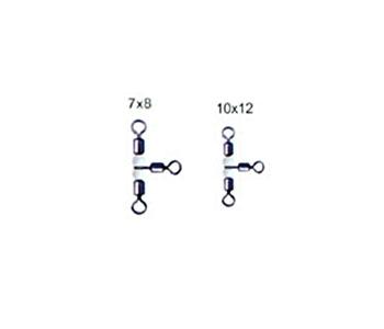 Вертлюжок-тройник с бусинами NE 0202 № 7*8 (10 шт)