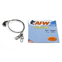 Поводок оснащенный AFW SURFLON BLACK 1Х7 длина 20 см, 7 кг (3 шт)