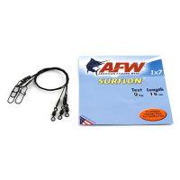 Поводок оснащенный AFW SURFLON BLACK 1Х7 длина 15 см, 9 кг (3 шт)