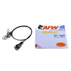 Поводок оснащенный AFW SURFLON BLACK 1Х7 длина 25 см, 14 кг (3 шт)
